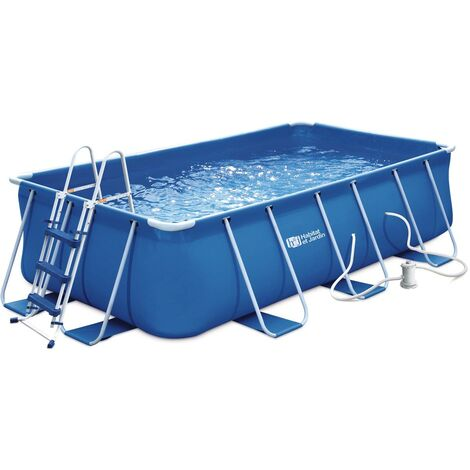 Piscine tubulaire rectangulaire bleue - LUDO 1 - 4 x 2 x 1 m - sans filtration