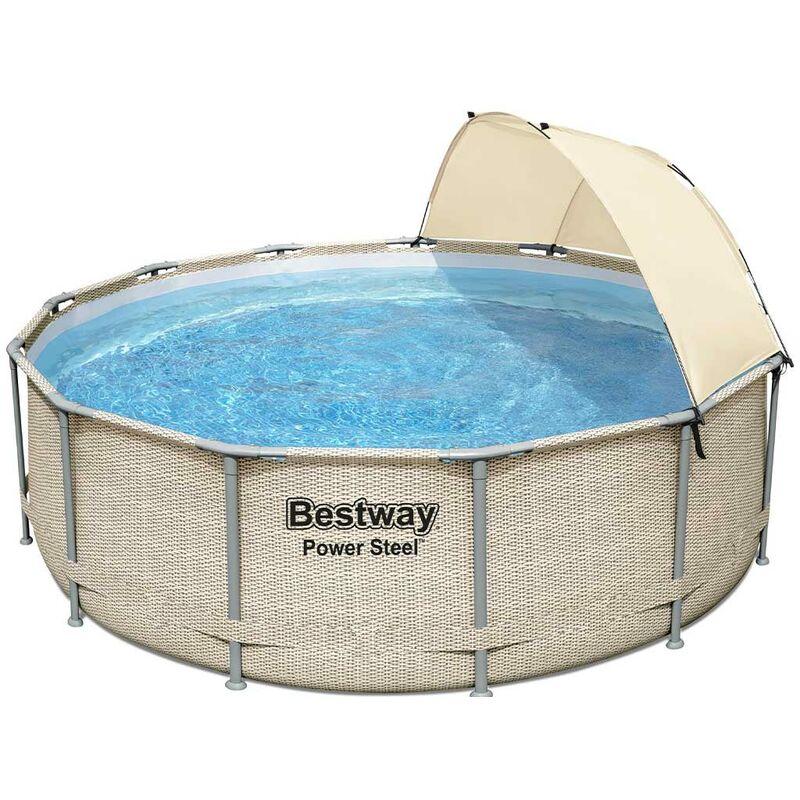 Kit piscine tubulaire POWER STEEL FRAME POOL ronde Ø396 x 107cm avec auvent - Bestway