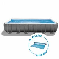 Piscine tubulaire Ultra Silver rectangulaire 7,32 x 3,66 x 1,32 m - Intex