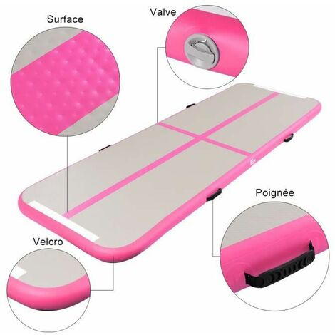 Piste Gonflable Gymnastique Airtrack Tapis 300 x 100 x 10cm pour Yoga Fitness, Danse portable rose