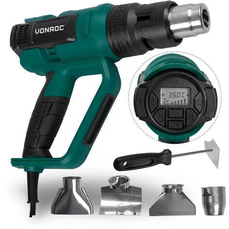 Pistola de aire caliente profesional VONROC   Quemador de pintura 2000W - Pantalla LCD - 60 ajustes de temperatura (50°C - 650°C) - 5 caudales de aire (250 - 500 L/min) Incluye accesorios y bolsa de almacenamiento
