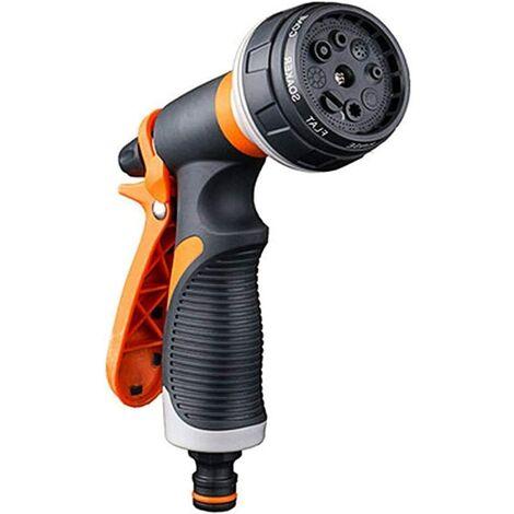 Pistola de riego, pistola de regadera, pulverizador de jardín multifuncional de 8 modos de riego, pistola de pulverización de plástico cómodo, lavado de coches ideal, riego de césped y jardín, gris / naranja