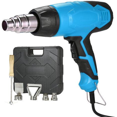Pistola electrica para calentador de aire, con boquillas de 4 piezas, 2000W AC220V, azul