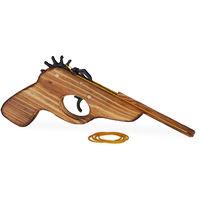 Pistola Juguete Lanza Gomas para Niño con 5 Gomas, Madera, Marrón, 12 x 2 x 15 cm