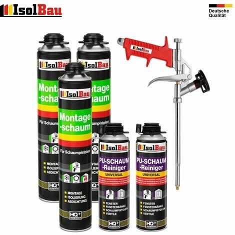 Pistolenschaum 3 x 750 ml + 1 Metall Schaumpistole + 2 Reiniger Bauschaum