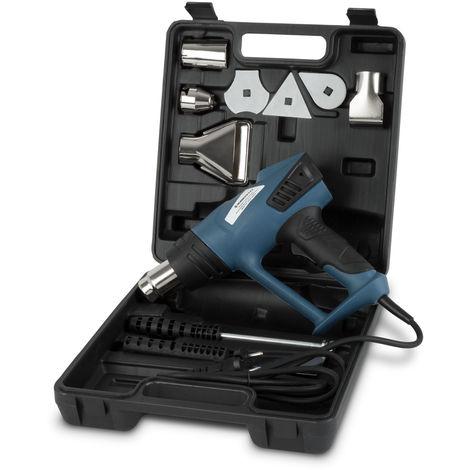 Pistolet à air chaud avec Écran LCD, Mallette et Accessoires (2 Position de débit dair 80°C - 600°C,) Decapeur