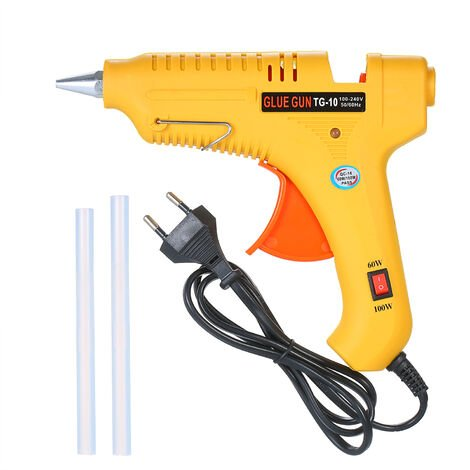 Pistolet a colle thermofusible 60W / 100W machine a baton thermofusible reglable en puissance jaune EU GT-10