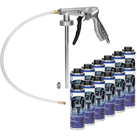 Pistolet à insonorisant à air comprimé anti gravillon + 12 x 1L spray Anticor