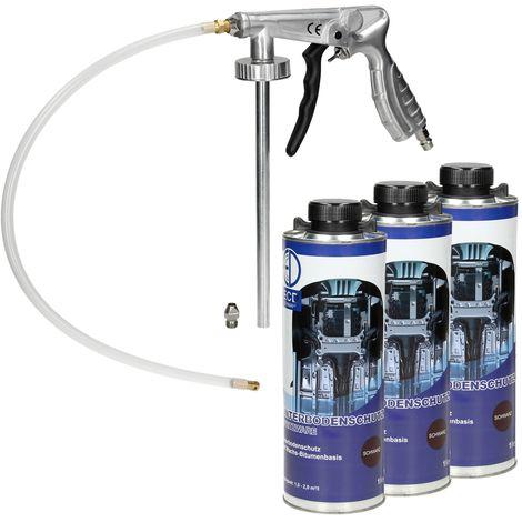 Pistolet à insonorisant à air comprimé anti gravillon + 3 x 1L spray Anticor