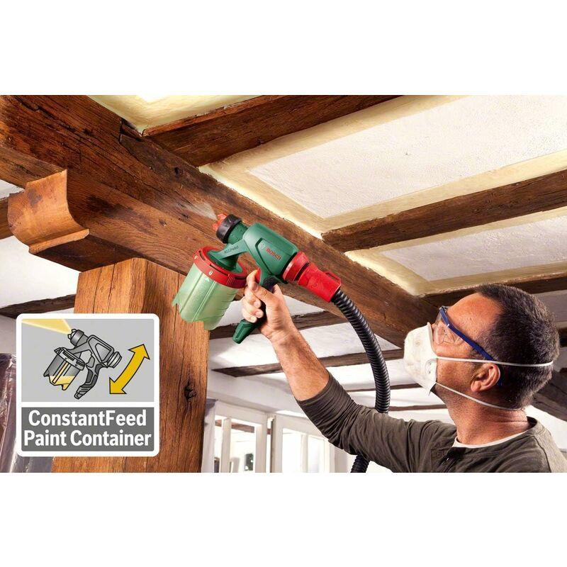 Pistolet à Peinture Bosch Pfs 5000 E Livré Avec 2 Godets De 1000ml Buse Pour Peinture Murale Lasures Vernis Filtre à Peinture Brosse De