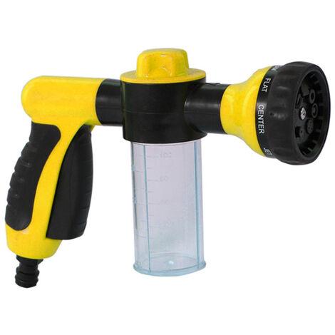 Pistolet de distributeur de savon de buse de mousse de tuyau d'eau de jardin de pulverisateur de mousse pour l'arrosage de plantes de douche d'animaux de compagnie de lavage de voiture, modele: jaune 12