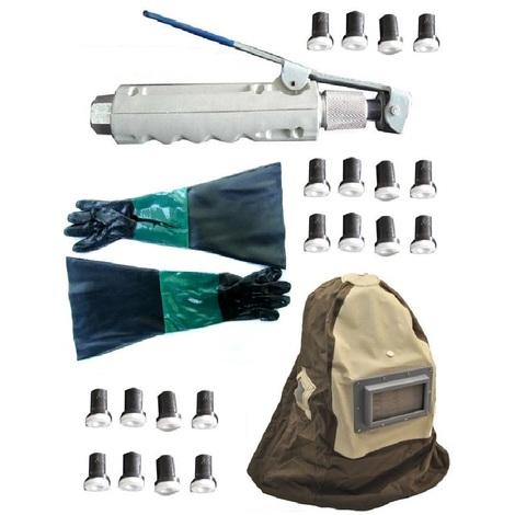 Pistolet gachette de sablage pour sableuse mobile + 20 Buses + 1 Paire de Gants + 1 Masque