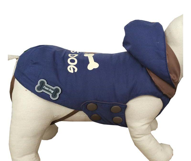 outlet store f04f1 63b9c Piumino per cani reversibile New York con cappuccio e decorazione sulla  schiena Fuss-dog