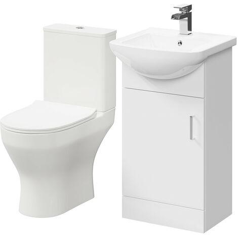 Piura White 450mm 1 Door Vanity Unit & Toilet Suite