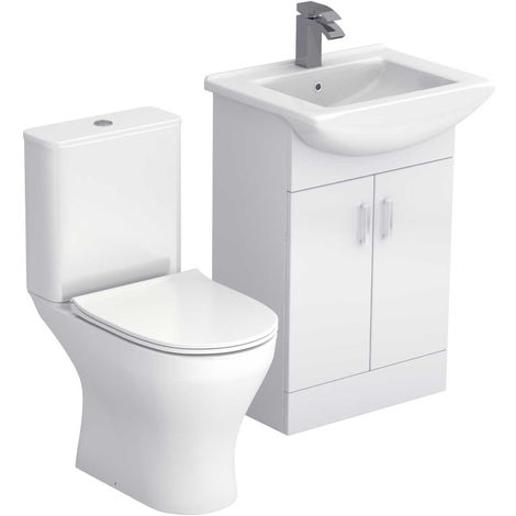 Piura White 550mm 2 Door Vanity Unit & Toilet Suite