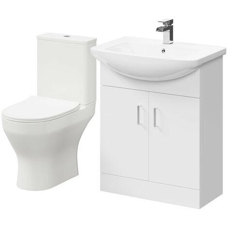 Piura White 650mm 2 Door Vanity Unit & Toilet Suite