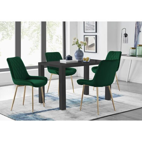 """main image of """"Pivero 4 Black Dining Table and 4 Pesaro Gold Leg Chairs"""""""