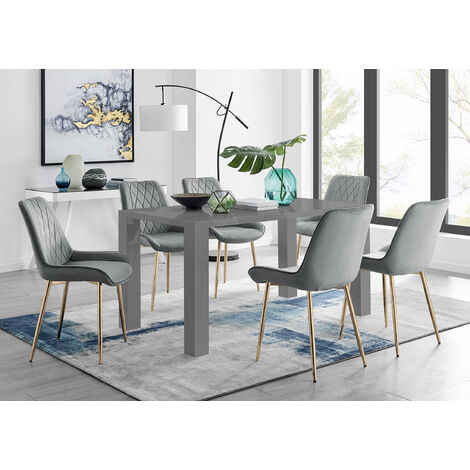 """main image of """"Pivero 6 Grey Dining Table and 6 Pesaro Gold Leg Chairs"""""""
