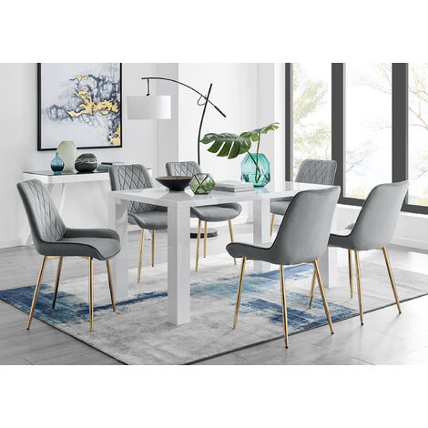 """main image of """"Pivero 6 White Dining Table and 6 Pesaro Gold Leg Chairs"""""""