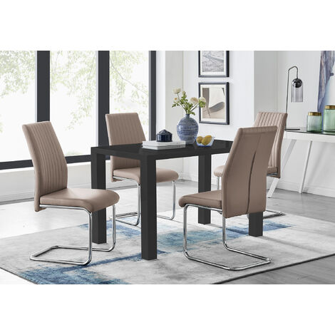 Pivero Black High Gloss Dining Table and 4 Lorenzo Chairs Set