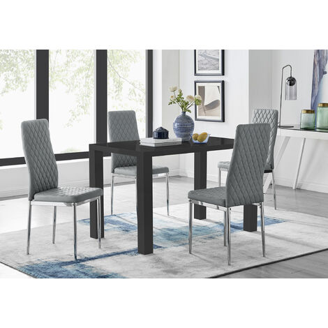 Pivero Black High Gloss Dining Table and 4 Milan Chairs Set