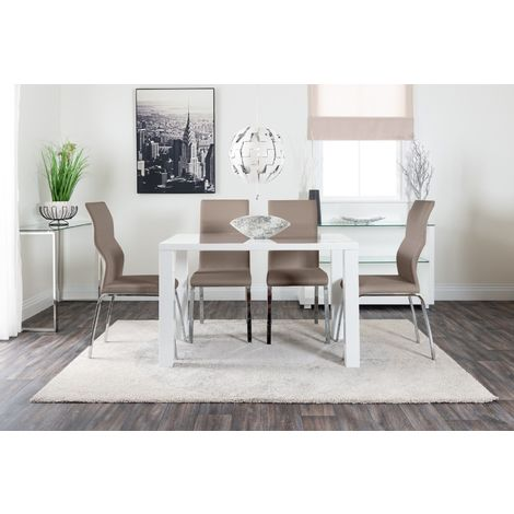 Pivero White High Gloss Dining Table and 4 Andora Chairs Set