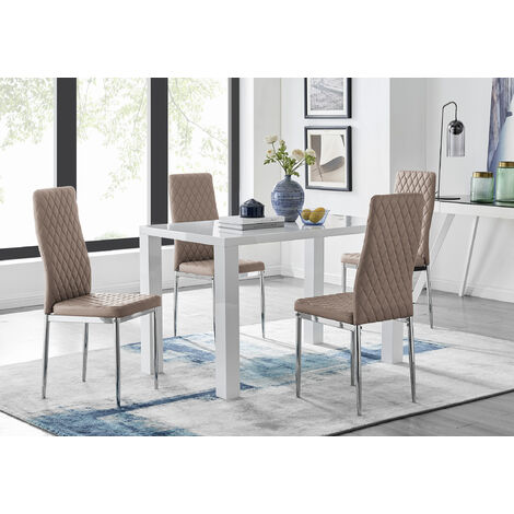 """main image of """"Pivero White High Gloss Dining Table and 4 Milan Chairs Set"""""""