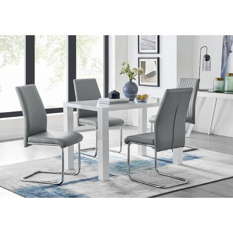 Pivero White High Gloss Dining Table And 4 Lorenzo Chairs Set