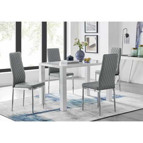Pivero White High Gloss Dining Table and 4 Milan Chairs Set