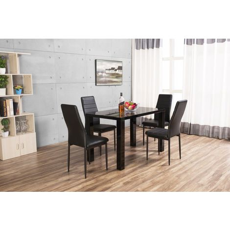 Pivero White High Gloss Dining Table and 4 Montero Dining Chairs Set