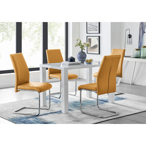 """main image of """"Pivero White High Gloss Dining Table And 4 Lorenzo Chairs Set"""""""