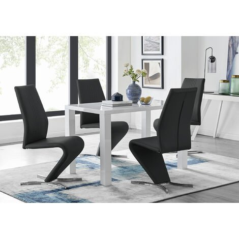 Awesome Pivero White High Gloss Dining Table And 4 Willow Chairs Set Evergreenethics Interior Chair Design Evergreenethicsorg