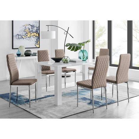 """main image of """"Pivero White High Gloss Dining Table And 6 Milan Chairs Set"""""""