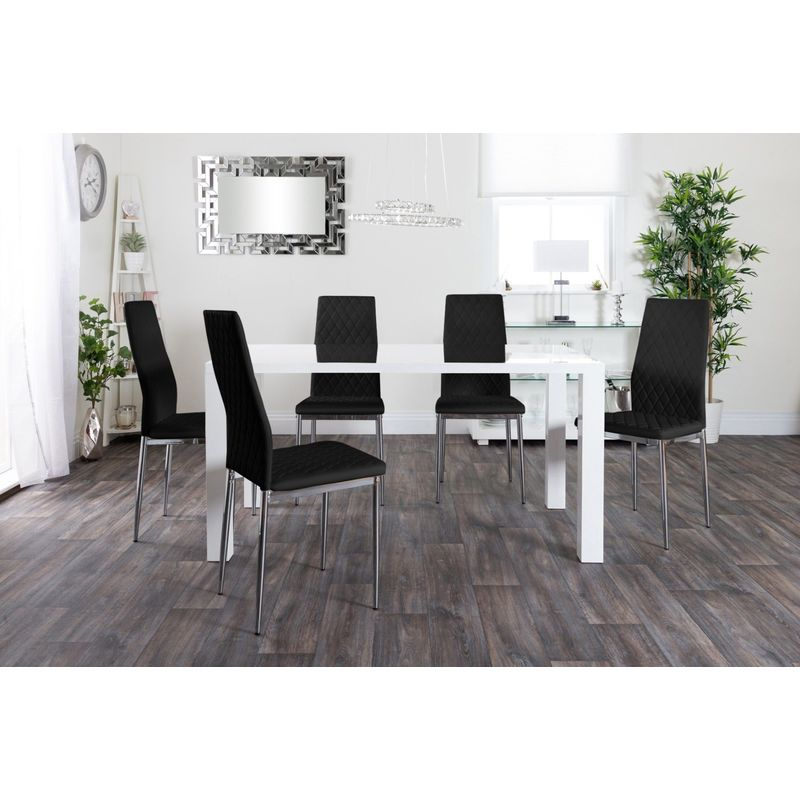 Pivero High Gloss White Dining Table Set and 6 Faux Leather Chairs Seats Table Only