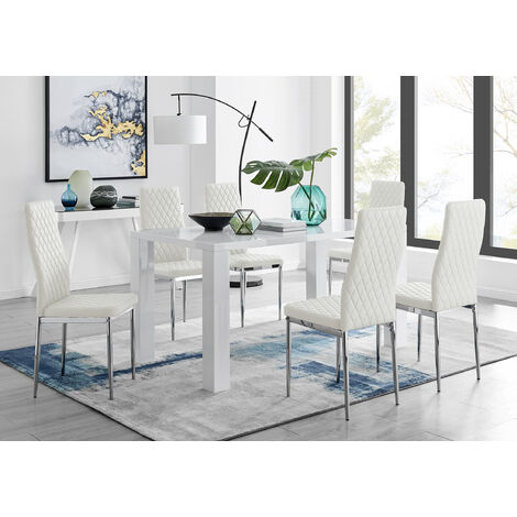 Pivero White High Gloss Dining Table And 6 Milan Chairs Set