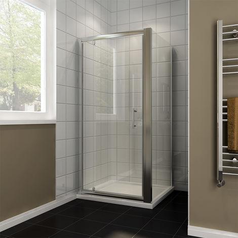 Pivot Hinge Shower Enclosure Glass Screen Door 1000 x 760 mm Shower Cubicle + Side Panel
