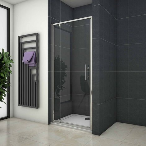 Pivot Shower Door Hinge Shower Screen Panel 700/760/800/900/1000mm Safety Glass Shower Tray Optional, Free Waste