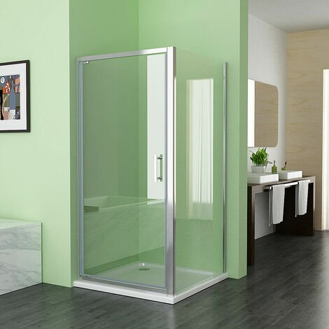 Pivot Shower Door Shower Enclosure Cubicle 6mm Nano Glass with Side Panel
