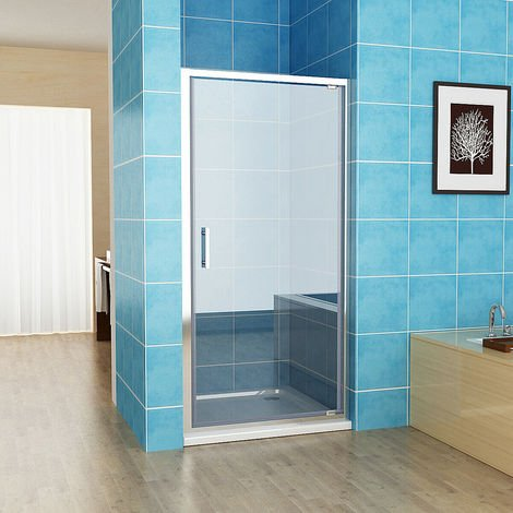 Pivot Shower Enclosure Door 6mm Safety Nano Glass Shower Cubicle 1850 mm Height - No Tray