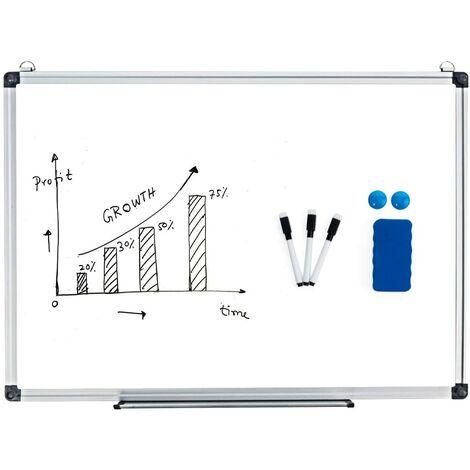 Pizarra Blanca de Magnético Whiteboard Tablero de Notas con Marco de Aluminio Muchos Tamaños Disponibles para Casa Oficina (60 x 40 cm)