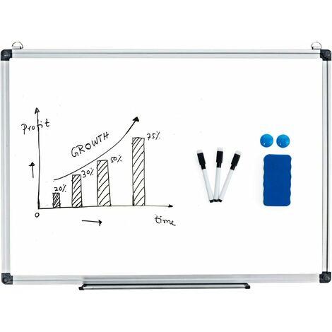 Pizarra Blanca de Magnético Whiteboard Tablero de Notas con Marco de Aluminio Muchos Tamaños Disponibles para Casa Oficina (90 x 60 cm)