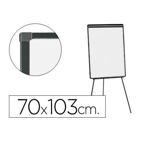 Pizarra blanca q-connect con tripode 100x70 cm para convenciones superficie laminada marco negro