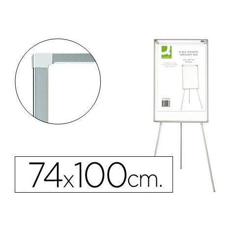 Pizarra blanca q-connect con tripode regulable 90x70x195cm y brazos extensibles para conferencias superficie lacada