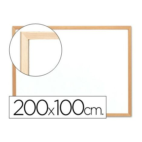Pizarra blanca q-connect laminada marco de madera 200x100 cm