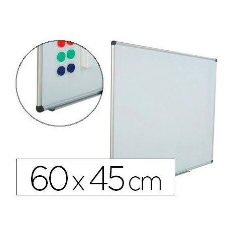 Pizarra blanca rocada acero vitrificado magnetico marco aluminio y cantoneras pvc 60x45 cm incluye bandeja para