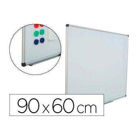 Pizarra blanca rocada acero vitrificado magnetico marco aluminio y cantoneras pvc 90x60 cm incluye bandeja para