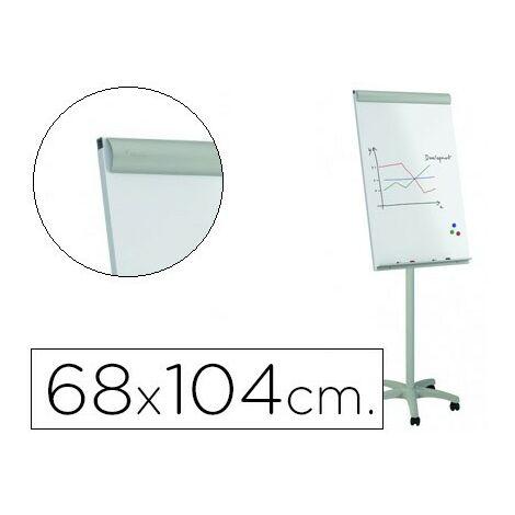 Pizarra blanca rocada para conferencias metalica magnetica con ruedas 68x104 cm