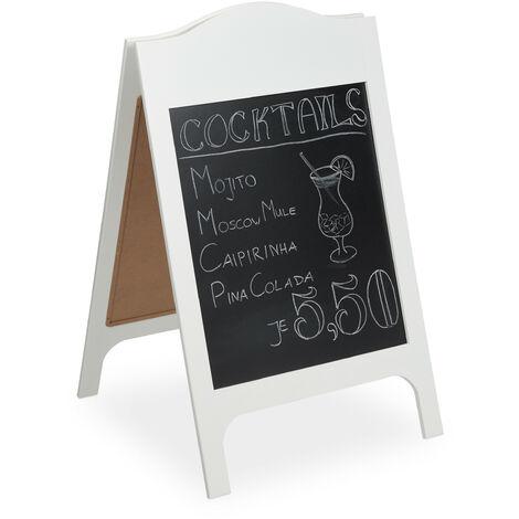 Pizarra Caballete de Doble Cara con 3 Tizas para Bar, Restaurante y Cafetería, DM, 96 x 60 x 64 cm, Blanco