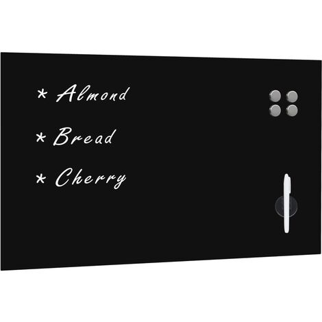 Pizarra magnética de pared negra vidrio 100x60 cm