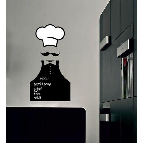 Pizarra Sticker - de Wall, Wall - Chef - para la sala de estar, la cocina - Negro, Blanco en Vinilo, 30 x 0,1 x 57 cm